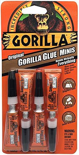 Gorilla Original Waterproof Polyurethane Glue Minis, Four 3 Gram Tubes,...