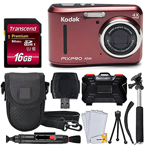 Kodak PIXPRO FZ43 16.15MP Digital Camera with 4X Optical Zoom (Red) + Transcend 16GB SDHC Class10 UHS-I Card 400X + Point & Shoot Camera Case + Extendable Monopod + Accessories