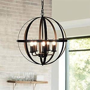 DLLT Pendant Light Metal, 5-Light Globe Pendant Lighting, Adjustable Hanging Ceiling Chandelier Light Flush Mount for Kitchen, Dining Room, Living Room, Hallway, Bedroom, Entryway, E12-Matte Black