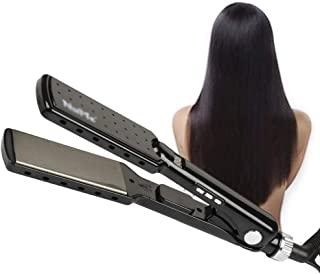 Hair Straighteners, Titanium Alloy Hair Straightener 7-Shaped Appearance Electric Splint MCH Fast Heating Straightener LED...