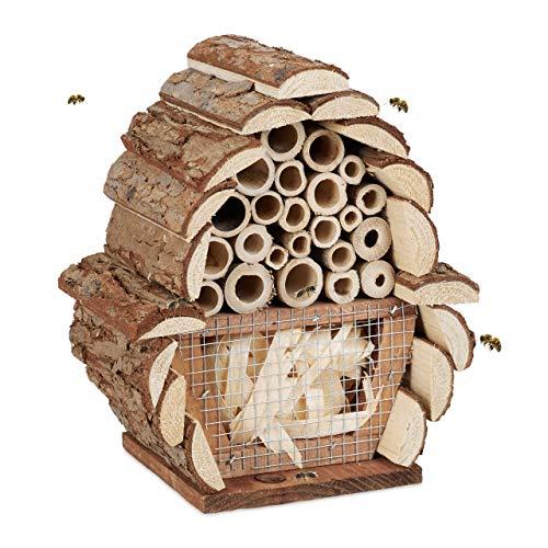 Relaxdays Insektenhotel, Nisthilfe Bienen, Florfliegen, Hummeln, Garten & Balkon, Bienenhotel HBT 20,5x17,5x11 cm, Natur