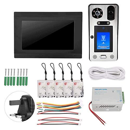 Timbre con Video 1080P Videoportero con Huella Dactilar Audio con Cable a Todo Color para Sistema de Seguridad para El Hogar (Color : Black, Size : 7in)