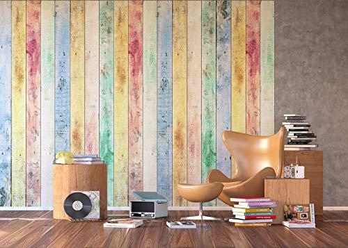 AG Design FTXXL 1470 houten plank, papier fotobehang - 360x255 cm - 4 stuks, papier, multicolor, 0,1 x 360 x 255 cm