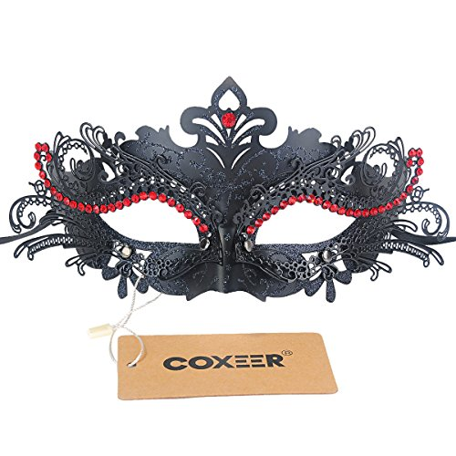 Coxeer Laser Cut Metal Lady Masquerade Halloween Mardi Gras Party Mask (Black with Red Crystal)