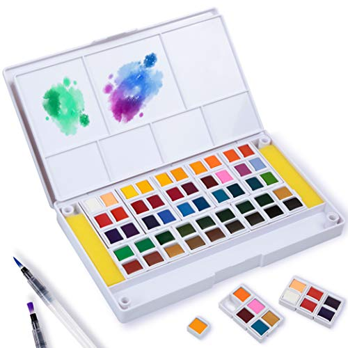 Falling in Art 48 Assorted Watercolor Paint Set, Solid Field Sketch Kit with 2 Brushes