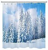 LB Winter-Schnee-Duschvorhang, Kiefernbaum, schwere Schnee-Wälder, Wald, Schnee-Landschaft, Duschvorhänge für Badezimmer, Dekoration, Set mit Haken, 182,9 x 182,9 cm, wasserdichtes Polyestergewebe