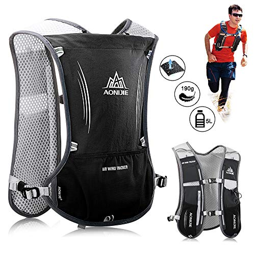 HINATAA Lightweight Running Hydration Backpack, 5L 190g Running Hydration Vest for Women and Men Cycling Running Climbing Hiking Vest Pack (Black)