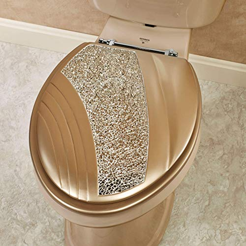 Touch of Class Glamour Elongated Toilet Seat Champagne Gold Glitter Mosaic