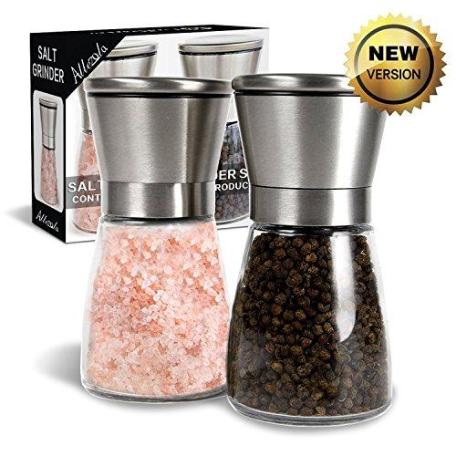 Broyeur à Poivre et Sel Moulin à sel et poivron ajustement de la finesse réglable avec coque en acier Inox et grande capacité (2 PC)