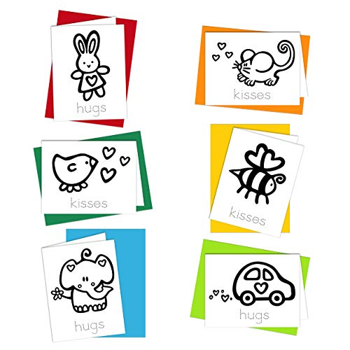 Coloring Cards: Hugs and Kisses - Greeting Cards for Kids to Color Designed for Children to Practice Letter Writing - 100% Recycled Note Cards with Envelopes - Blank Inside - Made in USA