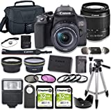 Canon EOS Rebel T8i DSLR Camera Bundle with 18-55mm STM Lens + 2pc Kingston 32GB Memory Cards + Accessory Kit