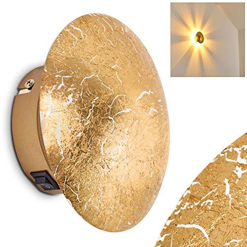 Wandlampe Mezia, runde Wandleuchte aus Metall in Gold mit Lichtspiel an der Wand, 1 x G9 max. 28 Watt, Innenwandleuchte mit Strahlen-Effekt in Blattgold-Optik, geeignet für LED Leuchtmittel