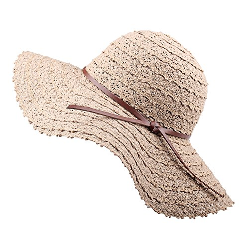 Summer Beach Sun Hats For Women - FURTALK Foldable Floppy Lace Cotton...