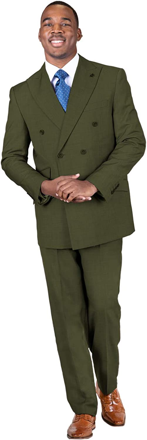STACY ADAMS Men's 2-Piece Peak Breasted Selling rankings Suit Solid Double safety Lapel