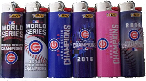 BIC 6pc Full Size Set Compatible with Chicago Cubs World Series Champion Edition MLB Baseball LIGHTERS