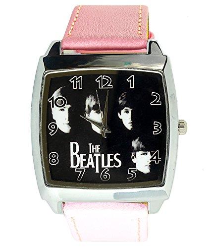 taport The Beatles cuarzo cuadrado Dial de reloj rosa de piel banda BF E2+ libre batería de repuesto + libre bolsa de regalo