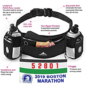 ANMRY Running Belt with Water Bottle,Running Hydration Belt Waist Packs Bag with Adjustable Belt | 2 Pockets | 2 10OZ Water Bottles for Running Hiking Cycling Marathon for 6.5 Inch Smartphones-Black