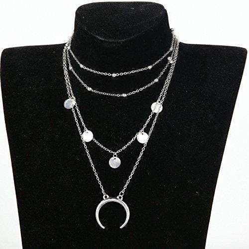 Hosaire 1X Collar De Plata Collar De Clavícula Multicapa Mujer De Joyería Regalo Para Moda Collar De Clavícula Collar De Boda Ajustable 27+8Cm