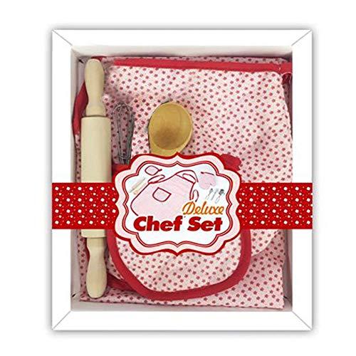 Hualieli Enfants kit de pâtisserie, Enfant, Bakeware kit Contient de Tablier, Gant de Cuisine, Real Cuisson Fournitures de Cuisine Chef Costume pour Enfant 6 pièces