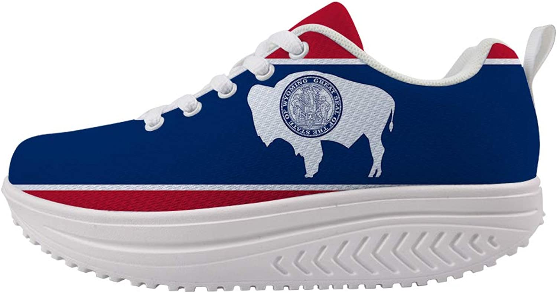 Owaheson Swing Platform Toning Fitness Casual Walking shoes Wedge Sneaker Women Wyoming Flag