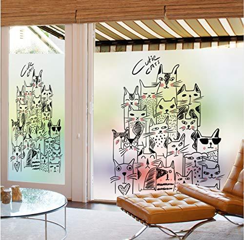 YFXGSTLI Fensterfilm Statisch Haften Glasmalerei Fenster Film Mattiert Und Undurchsichtig Privatsphäre Home Decor Digitaldruck Abnehmbare Katzen Geschichte Benutzerdefinierte Größe
