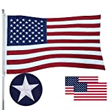 Atoah American Flag 2.5x4 Ft Proudly 100% Made in USA, Heavy Duty Long Lasting Tough Polyester US Flag with Sewn Strips Brass Grommets Embroidered Stars,Fade Resistant Outdoor USA Flag,Vivid Color