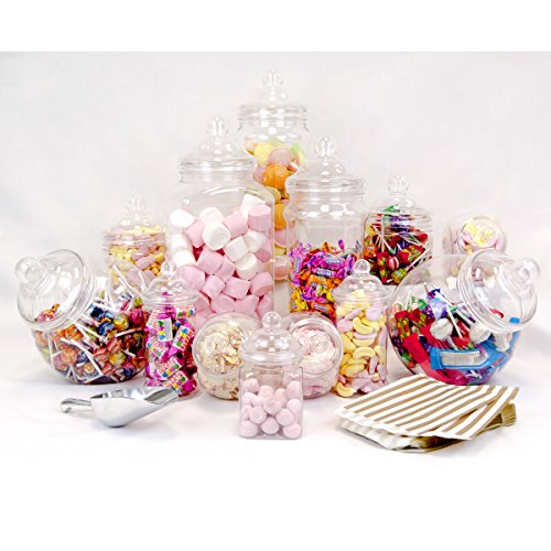 12 Jar Party Pack with Aluminium Scoop and 50 Sweet Bags