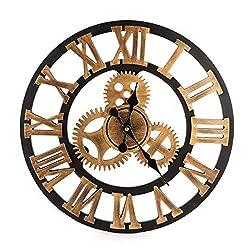 BEAMNOVA Wall Clock Analog Non Ticking Gear Clock Rustic Retro Decorative Rustic Vintage Look, Bronze Roman 12 Inch