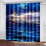 LWXBJX Cortinas Opacas de Salón Moderno Termicas - Azul océano...
