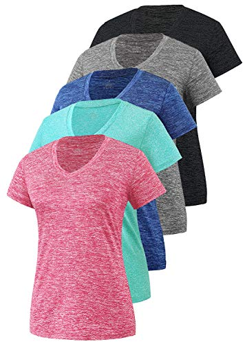 Cosy Pyro Women's Short Sleeve V-Neck Athletic T-Shirt Exercise Yoga Tees Dry Fit Gym Shirts Moisture Wicking Workout Tops Pack of 5 Black1/Gray/Navy/Rose/Azure M