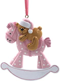 Rudolph and Me Baby's First Christmas Ornaments 2019,Personalize Christmas Ornament,Free Pen with Gifts Box Provided, Made of Resin (Horse-Pink)