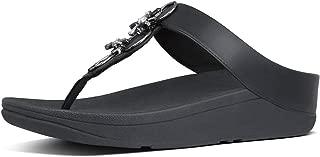 FITFLOP Fino Blossom Toe-Thong Black Sandals