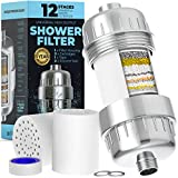 Shower Filter (12-Stage) - Shower Head Filter for Hard Water and Chlorine, Shower Head Filters, Water Softener Shower Head, Shower Head Filter for Healthier Hair (Universal Fit, 2 Cartridges)