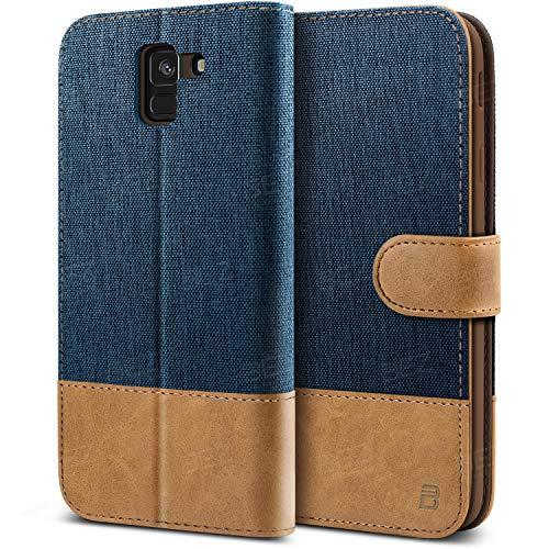 BEZ Handyhülle für Samsung J6 2018 Hülle, Tasche Kompatibel für Samsung Galaxy J6 2018, Handytasche Schutzhülle [Stoff & PU Leder] mit Kreditkartenhalter, Blaue Marine