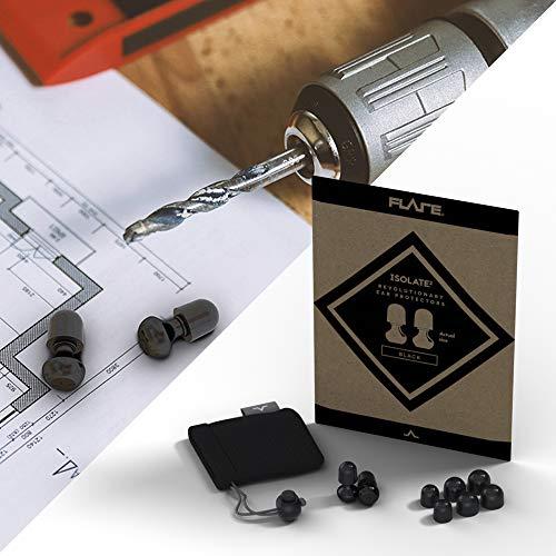 Isolate® 2 High Tech zertifizierte Aluminium Ohrstöpsel für Konzerte, Festivals, Motorradfahren, Gesundheit & Sicherheit (schwarz eloxiertes Aluminium)