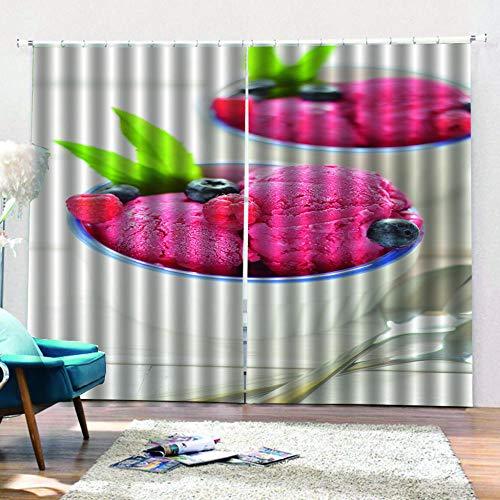 QRTQ gordijnen van stof met fotodruk in 3D-look, rood, polyester, ondoorzichtig, voor kamer, 150 x 166 cm