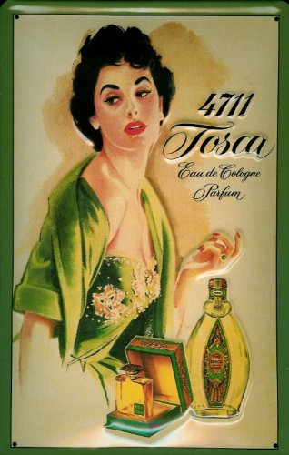 Buddel-Bini Versand Blechschild Nostalgieschild 4711 Tosca (1) Fläschchen EAU de Cologne Parfum Kosmetik Schild Werbeschild