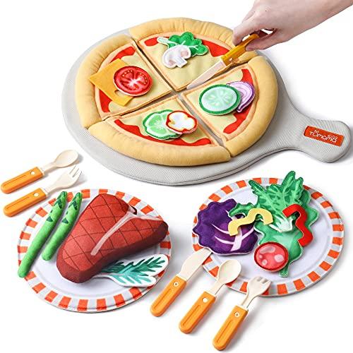 Felt Play Food Pizza Juguetes para niños, niñas, niños, juego de roles con plato, cuchillo, tenedor y bandeja, juego de simulación de bricolaje, peluche, cumpleaños, Navidad, Halloween, regalos