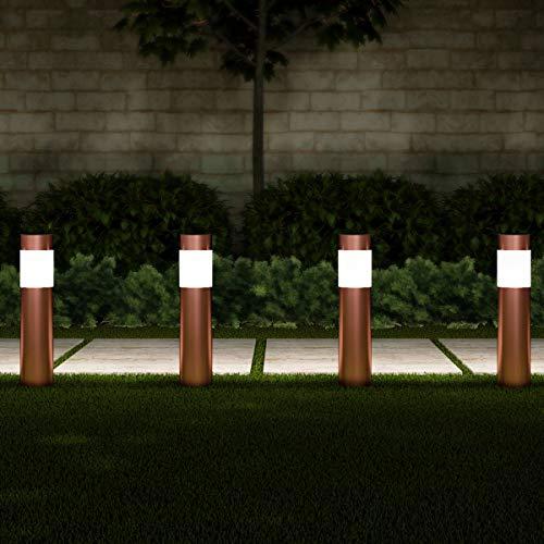 "Pure Garden 50-LG1071 Solar Path Bollard, Set of 6-15"" Stainless Steel Outdoor Stake Lighting for Garden, Landscape Yd, Driveway, Walkway (Copper)"