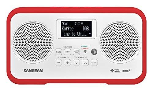Sangean DPR-77 tragbares DAB+ Digitalradio (UKW-Tuner, Batterie/Netzbetrieb) weiß/rot
