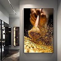 ゴールドブラシと女性のキャンバスの絵画現代のゴールデンウォールアートの写真ポスターとプリントリビングルームの壁の装飾壁画-50x75cmフレームなし
