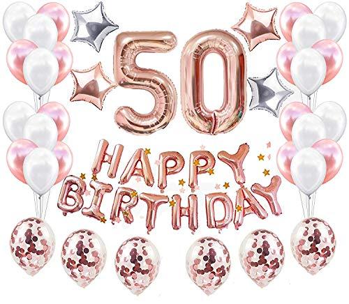 JeVenis 38 STÜCKE Rose Gold 50. Geburtstag Dekorationen Party Supplies Nummer 50 Geburtstag Luftballons Alles Gute zum Geburtstag Ballon Banner 50 Geburtstag Dekorationen für Sie