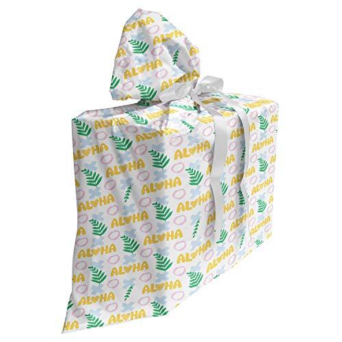 ABAKUHAUS Hawaii Cadeautas voor Baby Shower Feestje, Aloha Kleurrijke Exotische zomer, Herbruikbare Stoffen Tas met 3 Linten, 70 cm x 80 cm, Mosterd van de Baby Blue