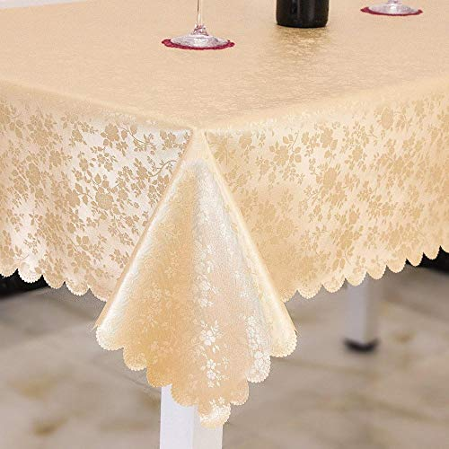 Yinaa Tablecloth Rectangle Washable Dinner Picnic Thick and Wear Resistant Folding Various Sizes Table Cloth Golden 100×100cm