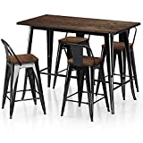 VIPEK Metal Counter Height Dining Table 24 inch Stools Sets with Solid Wood Top Low Backrest Heavy Duty 35.43' Table 4pcs Chair for Farmhouse Bar Patio Pub Restaurant Bistro Cafe Kitchen Gloss Black