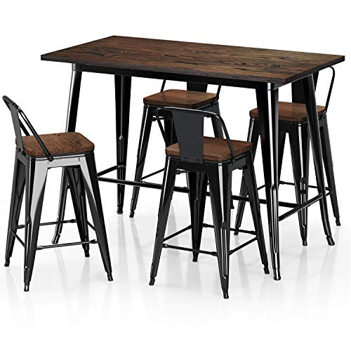 "VIPEK Metal Counter Height Dining Table 24 inch Stools Sets with Solid Wood Top Low Backrest Heavy Duty 35.43"" Table 4pcs Chair for Farmhouse Bar Patio Pub Restaurant Bistro Cafe Kitchen Gloss Black"