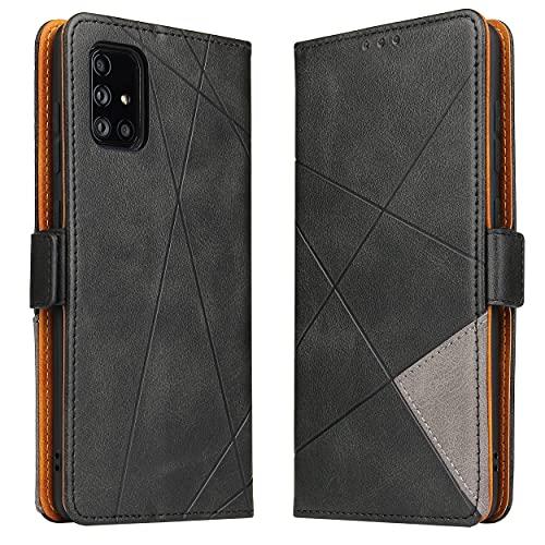BININIBI Handyhülle für Galaxy A51 Hülle, Samsung A51 Lederhülle Handytasche Klapphülle Tasche Leder Schutzhülle für Samsung Galalxy A51 (Schwarz)