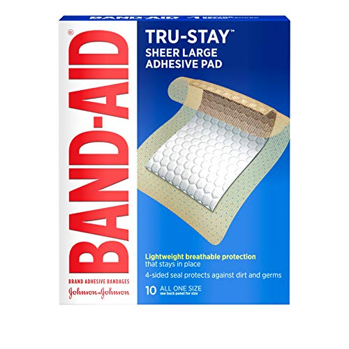 Band-Aid Brand Tru-Stay Adhesive Pads, Large Sterile Bandages for Wound Care and Protection, Large Size, 10 ct ( Pack of 5)