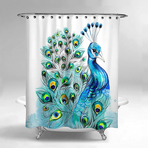 Lume.ly - Colorful Elegant Peacock Design Fabric Shower Curtain Set W/ 12 PREMIUM Hooks Rings For Bathroom, 72x72 inch, Modern Design Bright Art Decor (Blue White Watercolor) (72x72 in)