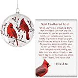 Lola Bella Gifts and Burton and Burton Cardinal Round Flat Ornament with Red Feathered Soul Poem